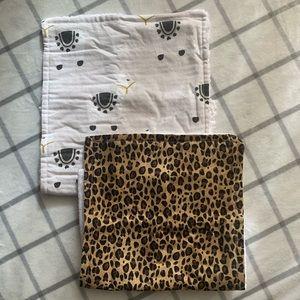 NWOT burp cloths set, custom, 1 llama & 1 leopard